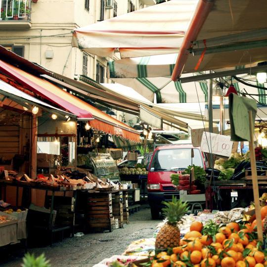 ตลาดปลา Piscarìa ใน Catania
