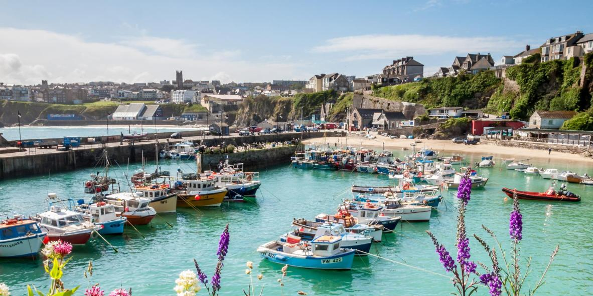 Newquay beach and harbor