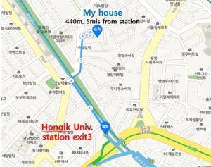 วิว Lovely House Hongdae จากมุมสูง