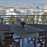 Chic style 2 bedroom apartment, great views of Piraeus cruise port